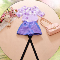 2014 spring women's new arrival short-sleeve three-dimensional flower chiffon shirt top shorts set 5020