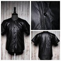 2014 new men leather t-shirts PU short-sleeve shirt males baseball uniform 78 print cardigan clothing fashion hip hop brand