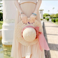 Campaigners Straw Hat Bow Beach Hat big Along the Cap Female Women Summer High Quality Sun-shading Sun Hat Free Shipping