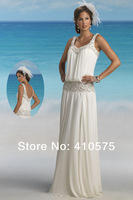 Tank Style Bohemian Beach Wedding Dresses With Beading  HWGJBWD14