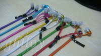 5pcs 10pcs Top Quality 3.5mm Zipper Headset Earphone with mic Colorful earphone with Mute button Micro phone