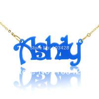 Personalized Harrington Font Acrylic Custom  Nameplate Necklace Charm Gift