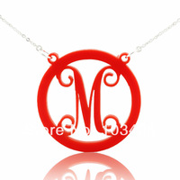 Acrylic Circle Monogram Name Necklace with One Letter Personalized Initals Monogrammed Necklace with Circle Red Custom Jewelry