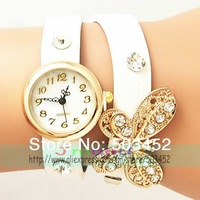 Bowknot Pendant Watch Luxury Crystal Ladies Quartz Watch Popular Bracelet Leather Watch Exclusive Design 5 Color Available