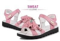 2014 genuine leather female child sandals soft leather child sandals princess shoes big boy