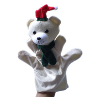Christmas Polar Bear Puppets Plush Hand Puppet,Stuffed Doll,Glove-puppet,Plush Marionette Toy Talking Props  Chirstmas Day Gifts