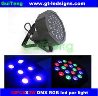 18pcs*3W Quad LEDs RGB Quadpar light,3CH flat led Par cans sound&auto&master/slave DMX512 Tric Color DJ Light