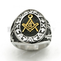 Topearl Jewelry 3pcs Masonic Mason Gold Oval Party Ring 316 Stainless Steel MER05-01