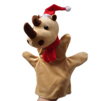 Christmas Rhinoceros Puppets Plush Hand Puppet,Stuffed Doll,Glove-puppet Toys For Kids Talking Props  Chirstmas Day Gifts