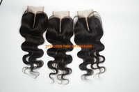 3.5*4 bleached knots virgin side/middle part body wave brazilian hair lace frontal top closure