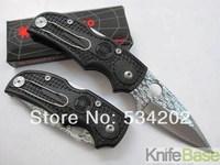 WHOLESALE SPYDERCO F22 Survival Small Pocket Folding Knife 56HRC 440C Fiber Plastic Handle Mini knives Like Damascus 15pcs/lot