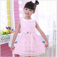 4-5-6-7-8-9-10y new sale 2014 childrens clothing female child one-piece dress embroidery lace dress princess dress with belt