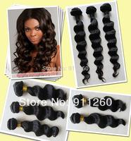 Free Shipping Indian Virgin Remy Human Hair Loose Wave Weave Bundles Hair
