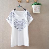 2014 summer new arrival cartoon heart floral short-sleeved women's ladies student girls t-shirts 142