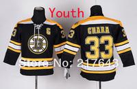 Youth Boston Bruins #33 Zdeno Chara Black KIDS Ice Hockey Jersey Embroidery logos Cheap Jerseys Drop Shipping