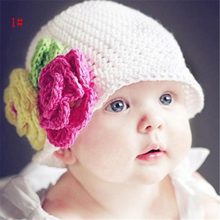 WD0079(10), baby crochet white hat child hand knitted beanie crochet baby flower hat kids spring autumn knitted beanie hat(China (Mainland))