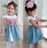 New2014 summer Children'S Clothing  KIDS  Baby Girls short-Sleeve pleated round neck  dress skirts wholesale  freeshipping