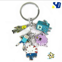 Wholesale 10sets= 50pcs Adventure time Finn and Jake BMO Metal ring keychain phon chain toy action figure set gift  AD203