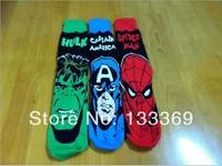 Free shipping Captain America The Hulk spider-man Film sock Fans Sport Socks 10pair/lot