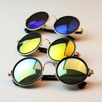 New Arrival 2014 Fashion Vintage Round Women Sunglasses Metal Frame Mirror Lens Love Retro Sunglasses Women Shades Free shipping