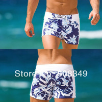 2014 NEW!!! Men's Flower Print Board Shorts hot sale Beach wear short pants Print Swimwear Shorts S/M/L/XL red/purple free ship