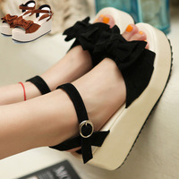 2014 platform sandals bow open toe wedges high-heeled shoes female