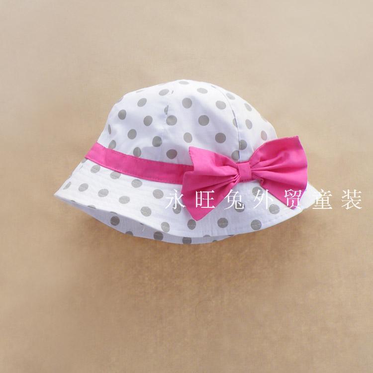 Spring and summer child hat female child hat polka dot princess baby sun hat bucket hats(China (Mainland))