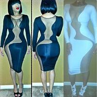 HL See through white bandage dress celebrity dresses sexy long sleeve mesh bodycon bandage dress Clubwear see thru mini dress