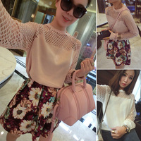 2014 free shipping 173 z2 h spring fashion loose sweater female sexy sleeves cutout long-sleeve sweater
