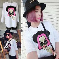 2014 free shipping 173 250k stunning head portrait ! beauty summer print lace short-sleeve T-shirt