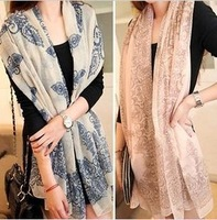 Latest han edition female retro blue and white porcelain chiffon scarves, shawls scarf free postage