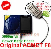 5000mAh Touch Screen Power Bank Phone Original ADMET F8 Free LED Light Loud Sound FM Radio MP3 Camera Old People Phone B30