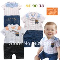 Free Shipping Children Wear infant Kids Boy's stripe with fake denim short sleeve Baby Romper