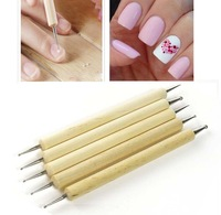 5pcs Nail Art Wood Acrylic Dotting Pen Nails For Painting Manicure and Decoration Tools Free Shipping