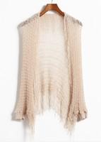 spring summer all-match tassel beach dress cape sun protection shirt cutout sweater female cardigan