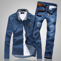 2014 spring men's clothing slim denim long-sleeve shirt male denim trousers set male trend