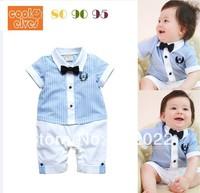Free Shipping Children Wear infant Kids Boy's blue color stripe short sleeve Baby Romper