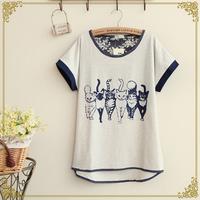 Retail 2014 New Mori Girl Summer Women's Kitten Print Batwing Loose Short-sleeve T-shirt,Female Casual Tops,Free Shipping