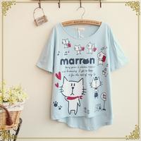 Retail 2014 New Japanese Mori Girl Women's Summer Cute Cartoon Cat Print Batwing Sleeve Thin Short-sleeve T-shirt,Free Shipping