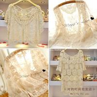 Beautiful embroidered lace crochet laciness shirt crochet shirt batwing sleeve loose cutout shirt