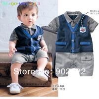 Free Shipping Children Wear infant boy's turn down collar vest short sleeve Baby Romper