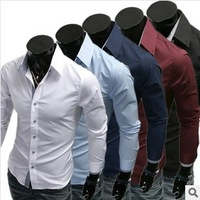 Spring 2014 men's casual shirt business career office long sleeve shirt Plus Size menswear Men clothing shirts solid