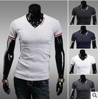 Spring 2014 summer shirt men's casual shirt cotton tops short V-neck T-shirt undershirt men clothing brand underwear t-shirts