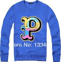 2014 New Brand Hip Hop  pink dolphin P letter Men Women Loose Long Sleeve Hoody And Sweatshirt Cotton Skateboard Pullover Coat