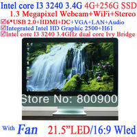 """21.5"""" all in one monitor pc with HDMI VGA Intel core I3 3240 3.4Ghz LED HD Screen 16:9 Webcam Wireless stereo 8G RAM 256G SSD"""