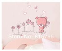 "100x90cm (39.5""x35.5"")JM8229 bear wall decal wall sticker kids bear Home Decor Hi-Quality SGS Removable PVC Mixable"