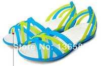 Free shipping    nice ribbons coloured women dress sandals huarache jelly flat Sandals rainbow slippers,beach W6 W7 W8 W9