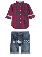 Free Shipping Children Clothing Boy's formal red checked shirt with stripe washed denim shorts suit
