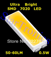 100pcs SMD 7020 Led, Ultra Birght 50-60LM 0.5W ColdWhite 7020 Led Diode