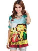 Free Shipping Women's Big Size Elegant Unique Oil Painting Print Loose Color Block Decoration Chiffon Shirt XL-2XL-3XL